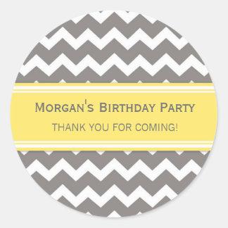 Birthday Thank You Custom Name Favor Tags Grey Round Sticker