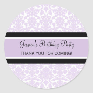 Birthday Thank You Custom Name Favor Tags Lilac Classic Round Sticker