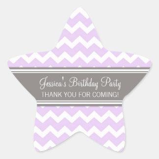 Birthday Thank You Custom Name Favor Tags Lilac Star Sticker