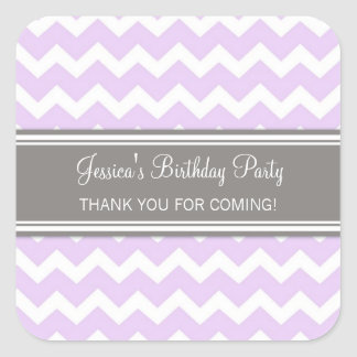 Birthday Thank You Custom Name Favor Tags Lilac Square Stickers