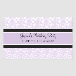 Birthday Thank You Custom Name Favor Tags Lilac Sticker