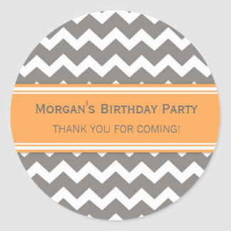 Birthday Thank You Custom Name Favor Tags Orange Classic Round Sticker