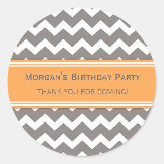 Birthday Thank You Custom Name Favor Tags Orange Round Stickers
