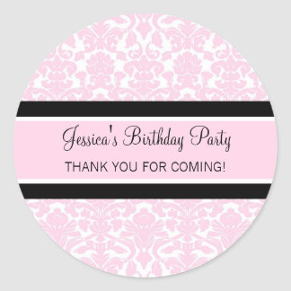 Birthday Thank You Custom Name Favor Tags Pink Classic Round Sticker