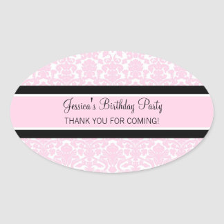 Birthday Thank You Custom Name Favor Tags Pink Oval Sticker