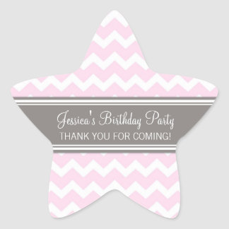 Birthday Thank You Custom Name Favor Tags Pink Star Sticker