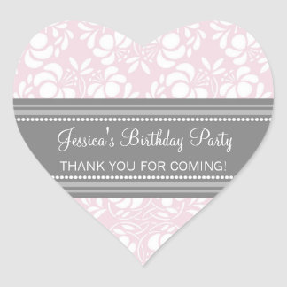 Birthday Thank You Custom Name Favor Tags Pink Heart Sticker
