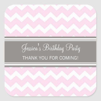 Birthday Thank You Custom Name Favor Tags Pink Square Sticker