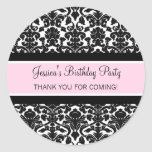 Birthday Thank You Custom Name Favor Tags Pink Stickers