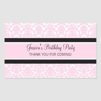 Birthday Thank You Custom Name Favor Tags Pink Rectangle Sticker