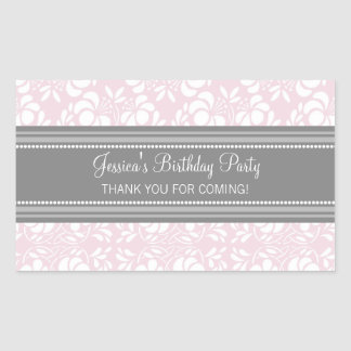 Birthday Thank You Custom Name Favor Tags Pink Rectangular Sticker