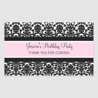 Birthday Thank You Custom Name Favor Tags Pink Rectangle Stickers