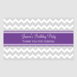 Birthday Thank You Custom Name Favor Tags Plum Sticker