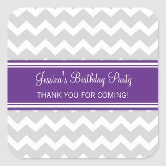 Birthday Thank You Custom Name Favor Tags Plum Stickers