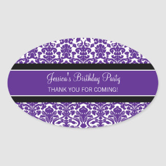 Birthday Thank You Custom Name Favor Tags Purple Oval Sticker