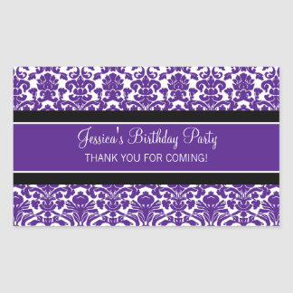 Birthday Thank You Custom Name Favor Tags Purple Rectangular Sticker