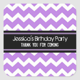 Birthday Thank You Custom Name Favor Tags Purple Square Sticker