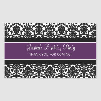 Birthday Thank You Custom Name Favor Tags Purple Stickers