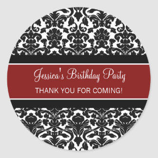 Birthday Thank You Custom Name Favor Tags Red Classic Round Sticker