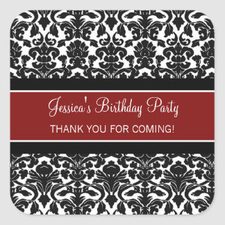 Birthday Thank You Custom Name Favor Tags Red Square Sticker