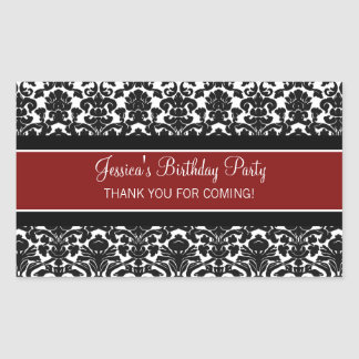 Birthday Thank You Custom Name Favor Tags Red Rectangle Stickers