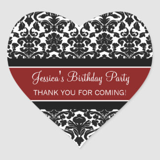 Birthday Thank You Custom Name Favor Tags Red Heart Stickers