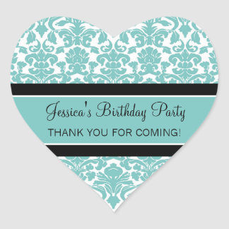 Birthday Thank You Custom Name Favor Tags Teal