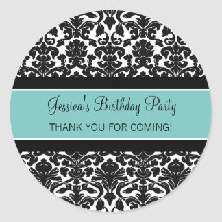 Birthday Thank You Custom Name Favor Tags Teal Classic Round Sticker