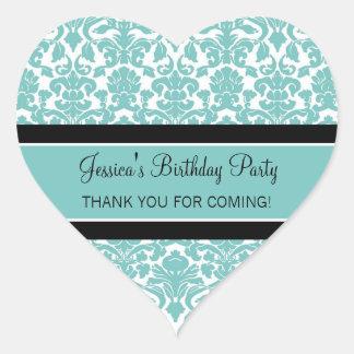 Birthday Thank You Custom Name Favor Tags Teal Heart Sticker