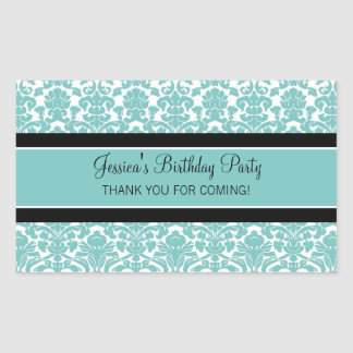 Birthday Thank You Custom Name Favor Tags Teal Sticker