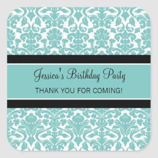 Birthday Thank You Custom Name Favor Tags Teal Square Sticker