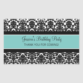 Birthday Thank You Custom Name Favor Tags Teal Rectangular Stickers