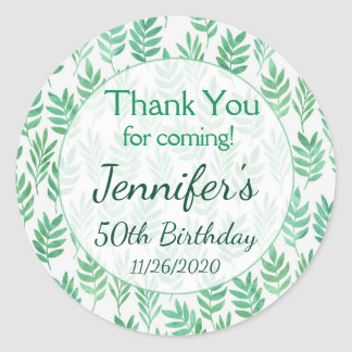 Birthday Thank You Favor Tags Green Nature Plant
