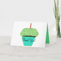 Birthday Thank You Green Cupcake Card