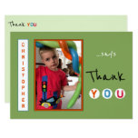 Birthday Thank you photo card from little boy