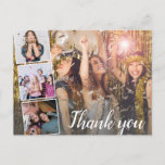 """Birthday Thank You Photo Collage Any Year Postcard<br><div class=""""desc"""">Say thank you with this awesome postcard featuring four of your favorite photos and then word """"Thanks"""" in an elegant script font. The backside features space for a typed note or delete to leave space for a handwritten note. Perfect for any age birthday! Your guests will love seeing photos from...</div>"""