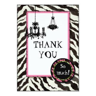 Birthday Thank You,  Zebra, Leopard 'n Chandelier Custom Invitations