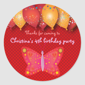 Birthday Theme: Butterfly Classic Round Sticker