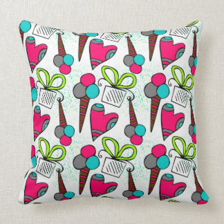 Birthday themed doodle seamless pattern. throw pillow