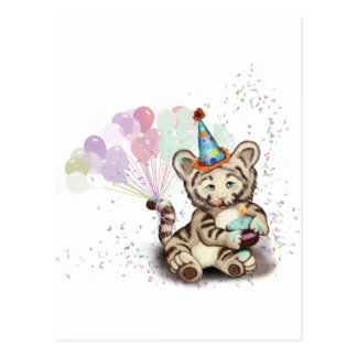 Birthday Tiger Postcard