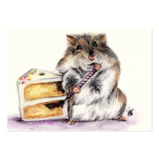 Birthday Time (Hamster) ACEO Art Trading Cards Large Business Card