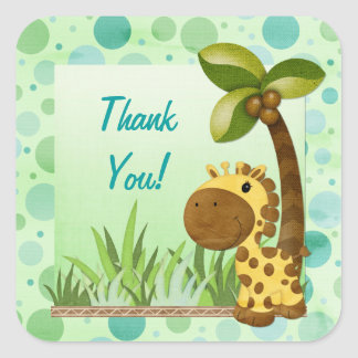 Birthday Tots Giraffe Birthday Square Sticker