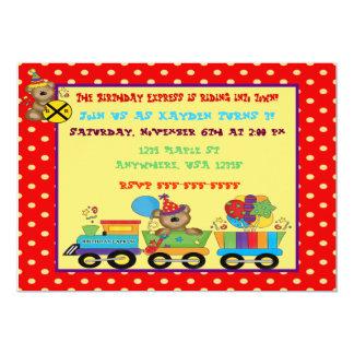 Birthday train custom invitation