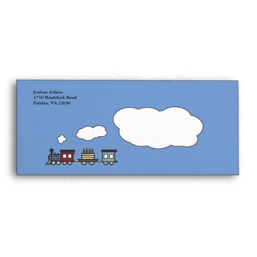 Birthday Train Envelope - Blue