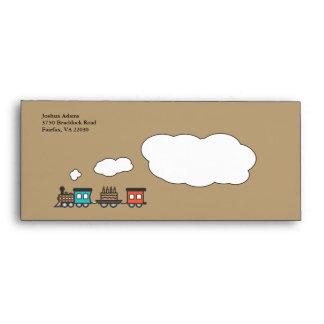 Birthday train envelope - brown