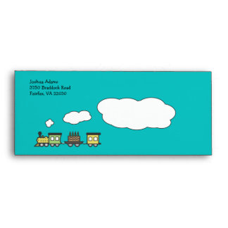Birthday Train Envelope - Greens