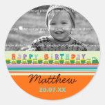 Birthday Train Gift Favors Custom Label Sticker Round Sticker
