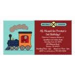 Birthday Train Photo Invitation - Red/Blue Photo Card