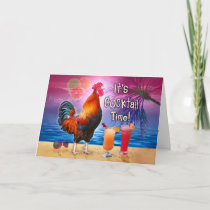 Birthday Tropical Funny Rooster Cocktails Beach Card