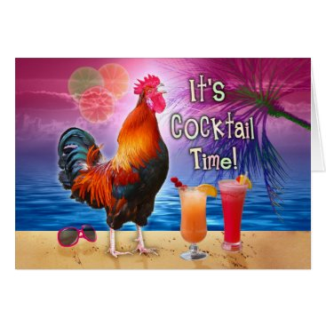 Beach Themed Birthday Tropical Funny Rooster Cocktails Beach Card